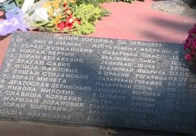 Položeni venci na spomenik stradalim Lazarevčanima u ratovima 1991-1999. godine