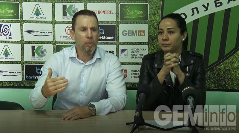 Trener Kolubare Dejan Đurđević i PR kluba Ana Stašević